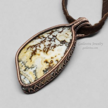 Copper Wrapped Australian Crazy Lace Agate Necklace