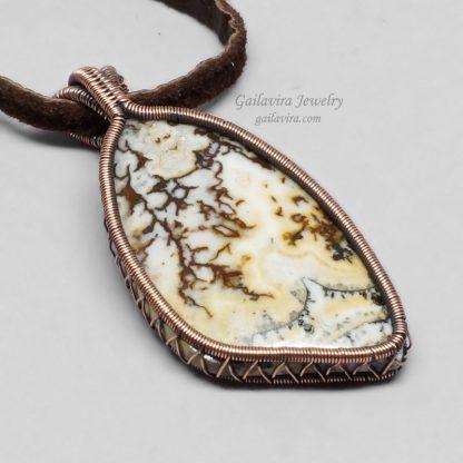 Copper Wrapped Australian Crazy Lace Agate Necklace