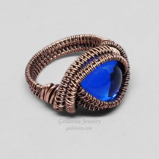 Blue Glass and Copper Wire Wrapped Ring