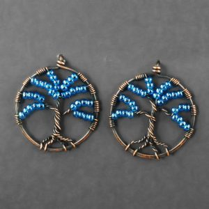 Copper and Blue Glass Tree Earrings