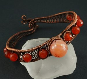 Copper and Carnelian woven wire bracelet