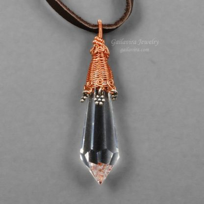 Clear lead crystal prism necklace.