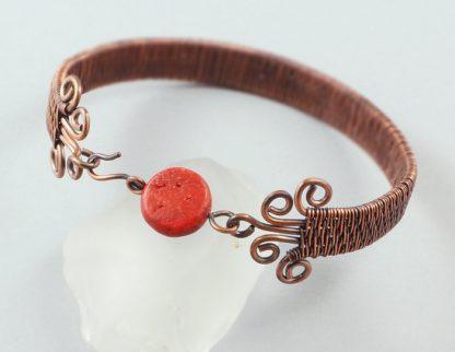 Copper And Red Coral Brick Stitch Weave Bracelet