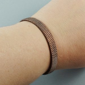 Copper And Red Coral Brick Stitch Weave Bracelet