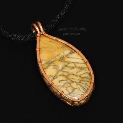 Copper wire wrapped Dendritic Opalite on black leather necklace