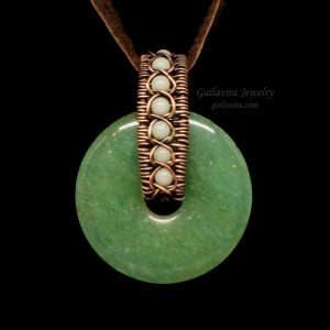 Copper Wrapped Green Aventurine Donut with White Quartz