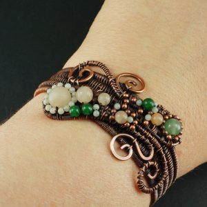 Copper, Aventurine and Amazonite wire wrapped bracelet