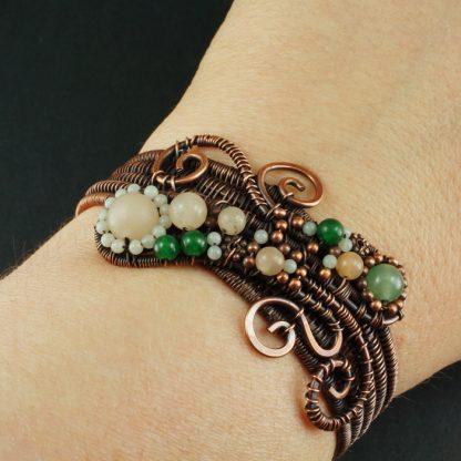 Copper, Aventurine and Amazonite wire wrapped bracelet
