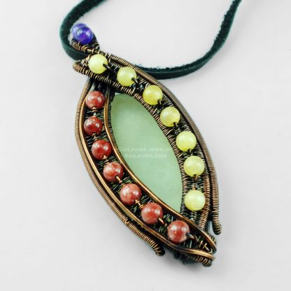 New Jade, Yellow Quartz, Pink Calcite, Amethyst and Copper Necklace Pendant