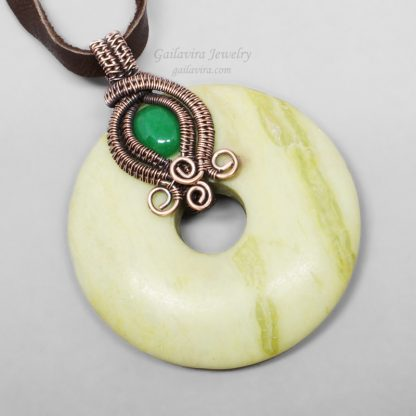 Green Aventurine, Copper and Peridot Jasper Necklace