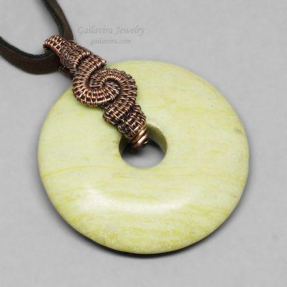 Peridot Jasper Donut Necklace