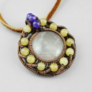Copper and Rose Quartz, yellow Quartz and Amethyst pendant