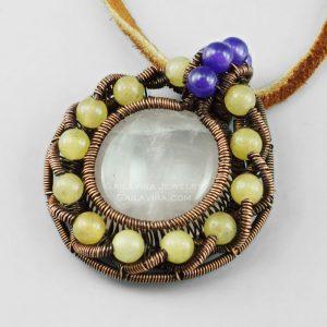 Copper and Rose Quartz, yellow Quartz and Amethyst pendant