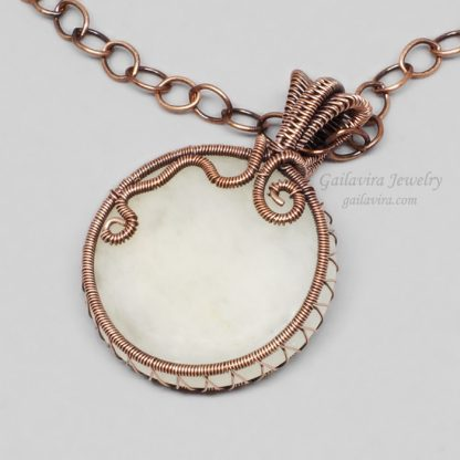 Snow Quartz and copper wire wrapped pendant