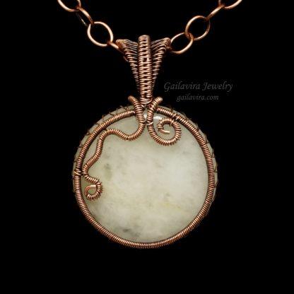 Snow Quartz and copper wire wrapped pendant