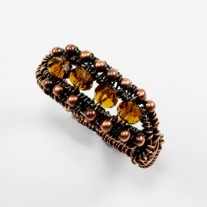 Copper and Amber Glass Ring