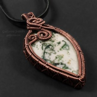 White and green Tree Agate set in a copper wire wrapped pendant