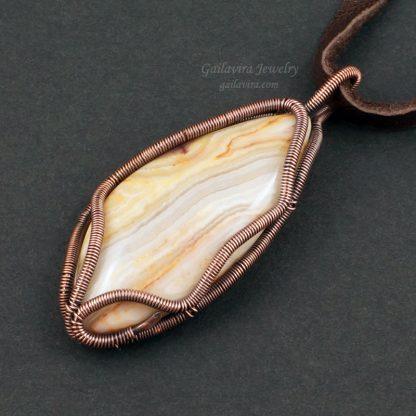 Copper wire wrapped Agate Pendant