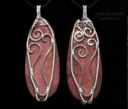 Rhodonite and fine silver wire wrapped necklace pendant