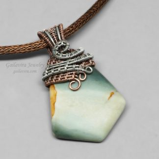Copper and Sterling Silver Wrapped Green jasper Necklace