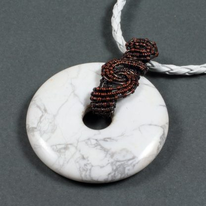 Copper Wrapped Howlite Donut Necklace