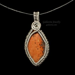 Sterling Silver and Orange Agate Necklace