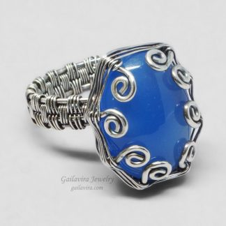 Blue Agate and sterling silver ring