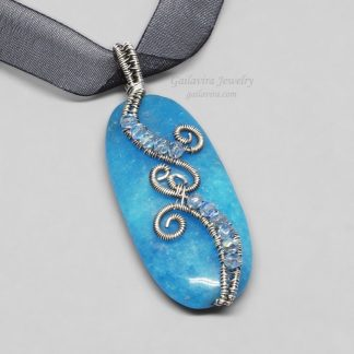Sterling Silver and Blue Candy Jade Necklace