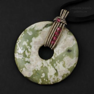 """Peace Jade"", Swarovski crystal and sterling silver necklace pendant"