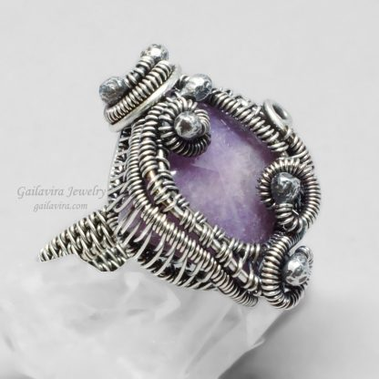 Purple Quartz in a sterling silver wire wrapped ring