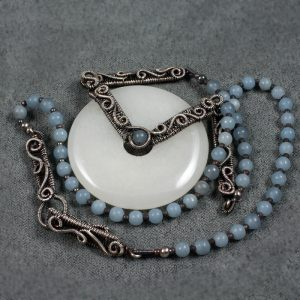 The Angel's Song - White Jade, Angelite and Sterling Silver Necklace