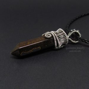 Tiger Eye Crystal Point Necklace