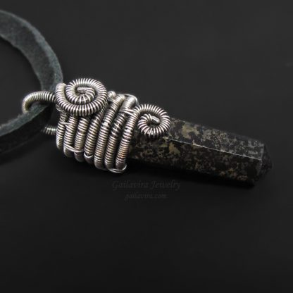 Silver and black stone crystal point necklace.