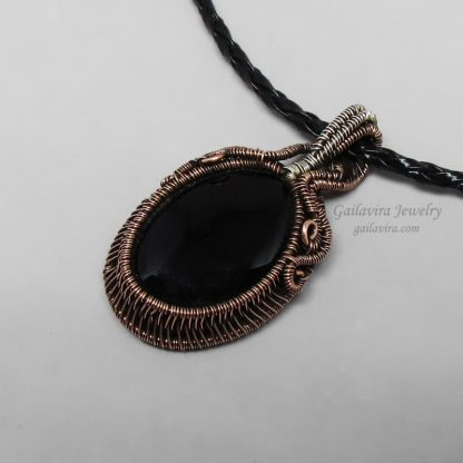 Onyx, copper and sterling silver pendant