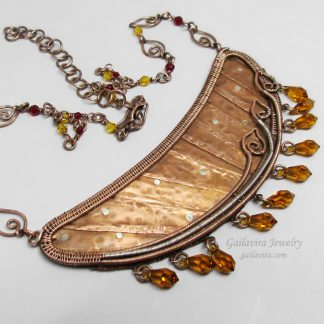Copper, Sterling Silver and Swarovski Crystal Bib Necklace.
