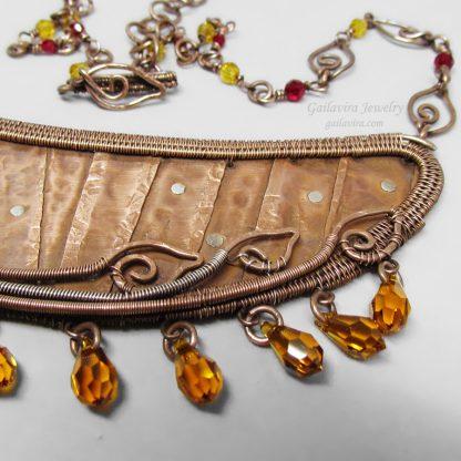 Copper, Sterling Silver and Swarovski Crystal Bib Necklace.