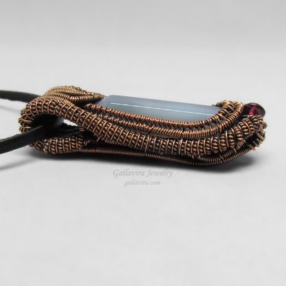 Gray Agate and Copper Heady Wire Wrapped Pendant