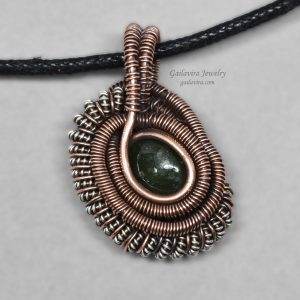 Jade and mixed metal mini heady wire wrap necklace.